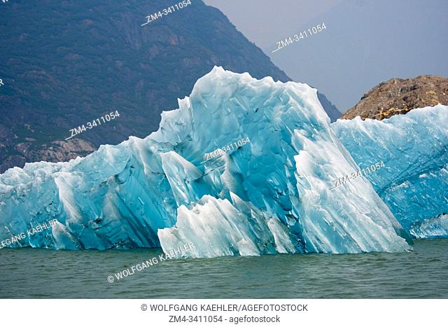 Icebergs in front from the of the Sawyer Glacier floating in Tracy Arm, a fjord in Alaska near Juneau, Tongass National Forest, Alaska, USA