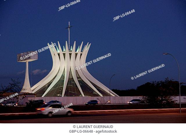Metropolitan cathedral Ours Mrs. Aparecida, city, Distrito Federal, Brasília, Brazil
