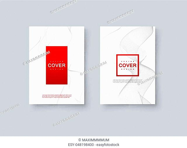 Abstract minimal cover design. Vector creative illustration. Mockup template for corporate branding. A4 paper size poster with abstract wavy lines