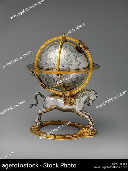 Celestial globe with clockwork. Maker: Gerhard Emmoser (German, active 1556-84); Date: 1579; Culture: Austrian, Vienna; Medium: Case: partly gilded silver and...