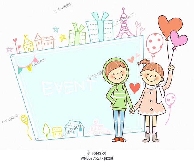 The boy and girl holding hands together with event notice