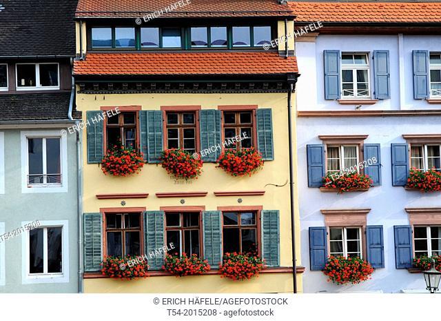 Facades and windows of old houses of Freiburg im Breisgau