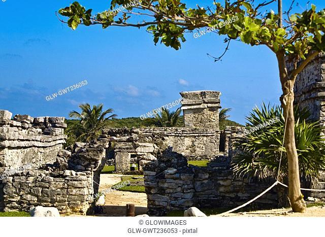 Old ruins of a castle, Zona Arqueologica De Tulum, Cancun, Quintana Roo, Mexico