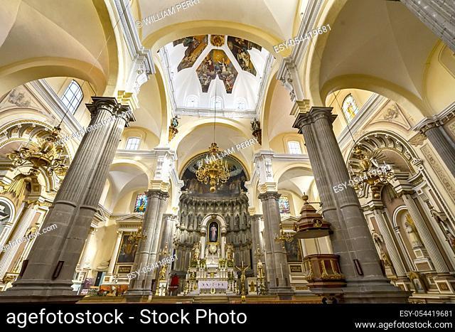 Basilica Altar Dome Stained Glass La Compania Church Puebla Mexico. Jesuit church built in 1767