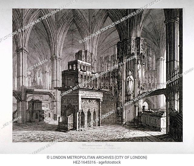 Interior of the Chapel of King Edward the Confessor, Westminster Abbey, London, c1817. View with the king's mausoleum in the centre