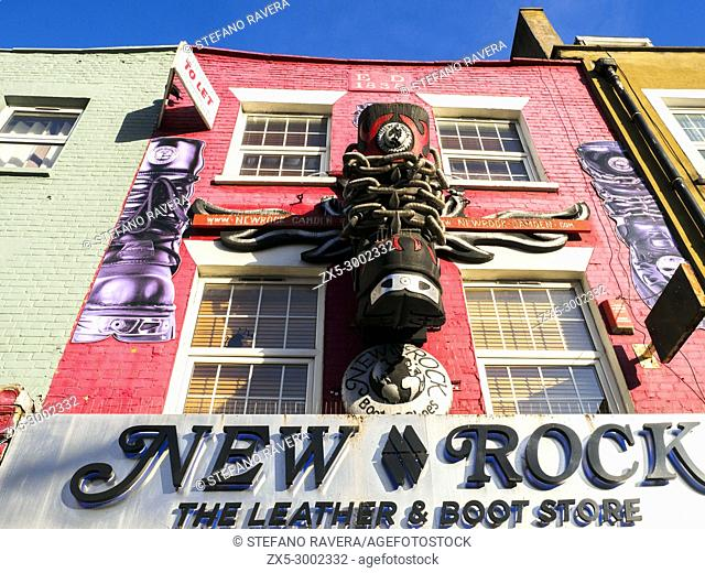 Decorated shop front in Camden Town - London, England
