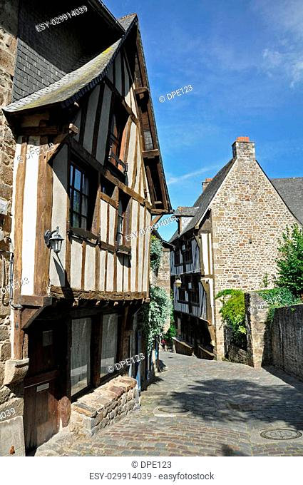 Medieval half-timbered buildings in the ancient french town of Dinan in Brittany. These old houses are in the Rue de Jerzual