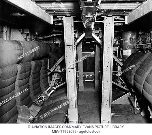 Consolidated B-24 Liberator Cabin Interior Seat Below the Cockpit During Rebuild / Repairs and Modifictions at Scottish Aviation at Prestwick, Scotland UK