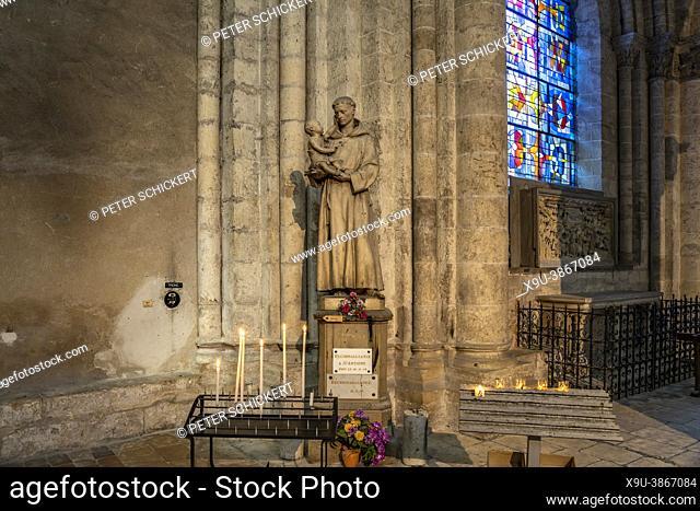 St. Antoine Statue, Saint-Nicolas church interior, Blois, Loire Valley, France