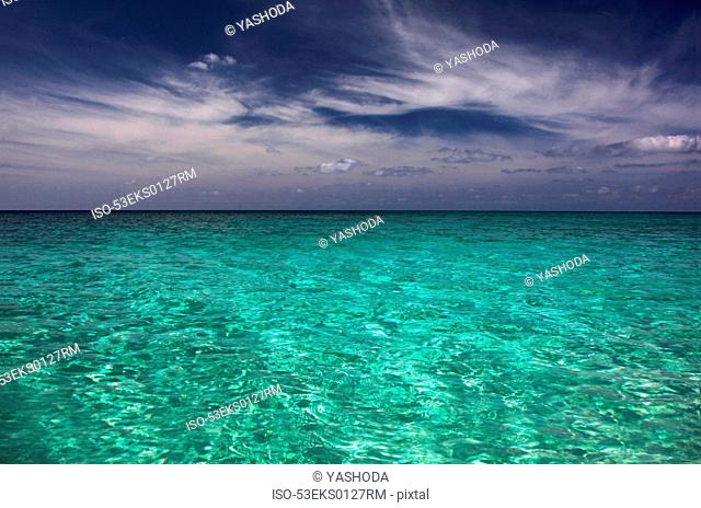 Clear tropical water under blue sky