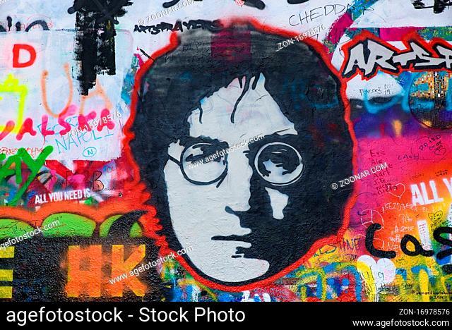 Lennon Wall filled with graffiti in Prague, Czech Republic