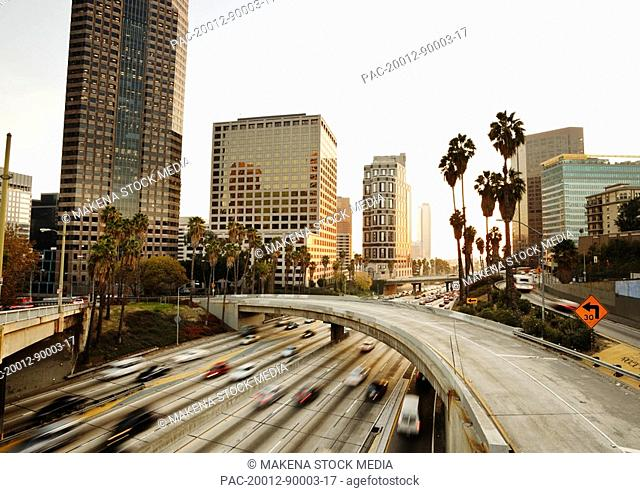 California, Los Angeles, Freeway traffic in downtown LA at sunset, long exposure