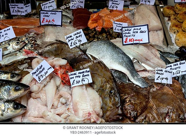 Fresh Fish For Sale At The Lewes Food Market, Held Every Friday In The County Town Of Lewes, Sussex, UK