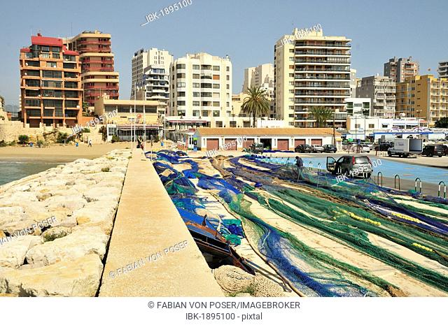 Fishing nets in the port of Calpe, Costa Blanca, Spain, Europe