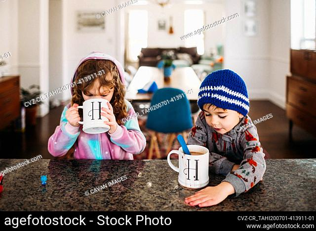 Young boy and girl drinking hot chocolate inside on a cold winter day