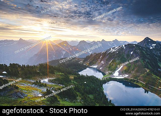 """Beautiful """"""""Twin Lakes"""""""" lakes from the top of Winchester mountain, USA"""