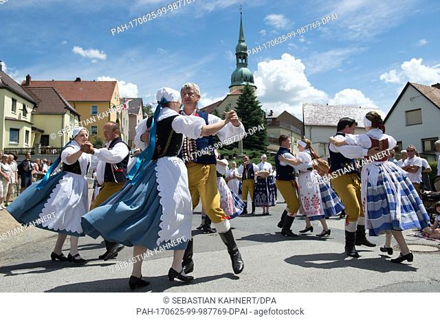 Croation dancers participate in the festival parade of the 12th international folklore festival Lusatia in Crostwitz, Germany, 25 June 2017