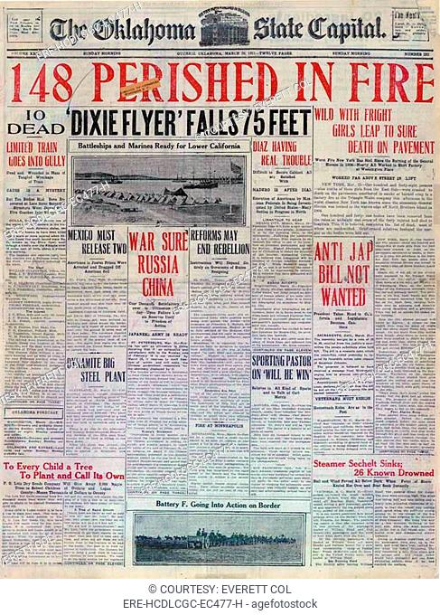 Triangle Shirtwaist fire. '148 Perished in Fire,' headline detailing the death toll of the Triangle Shirtwaist fire