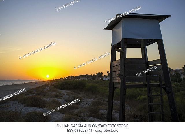 Life guard tower at sunset close to Islantilla beach, -huelva, Costa de la Luz, Spain