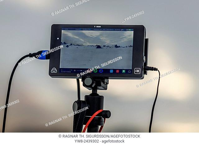 Screen for Radio controlled Drone. Eruption at the Holuhraun Fissure, Bardarbunga Volcano,Iceland