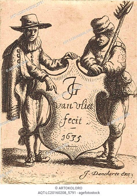 Elegant man and a chimney sweep with a coat of arms, print maker: Jan Gillisz. van Vliet, Justus Danckerts, 1635 and or 1664 - 1699