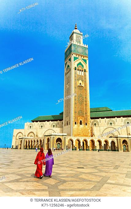 Exterior of the Hassan II mosque in Casablanca, Morocco