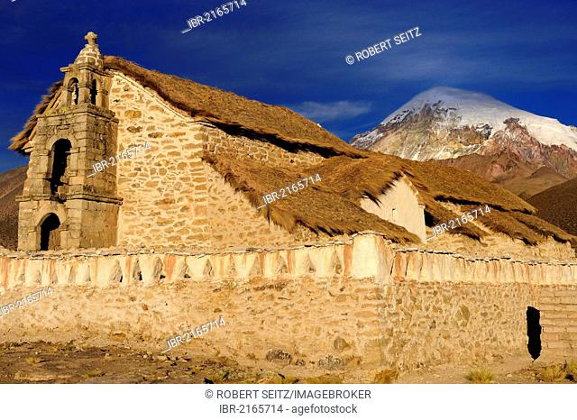 Old chapel in front of Sajama Mountain, Sajama National Park, La Paz, Bolivia, South America