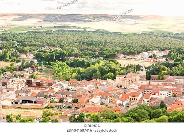 Aerial view of Peñafiel, Valladolid (Spain)