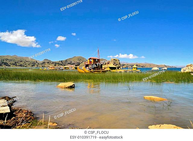 Traditional Reef Boat and Floating Island Titicaca