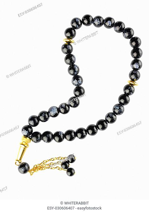 black bead-roll with golden eltments isolated on white background