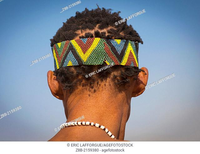 Bushman With Beaded Headwear, Tsumkwe, Namibia