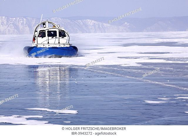 Hovercraft on the frozen Lake Baikal, Slyudyanka, Lake Baikal Region, Siberia, Russia