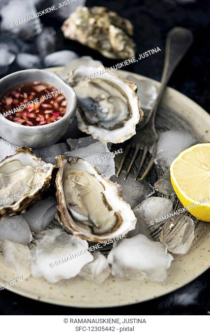 Oyster Plate With Mignonette Sauce