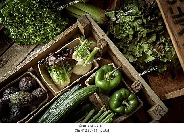 Still life fresh, organic, green, healthy vegetable variety in wood crate