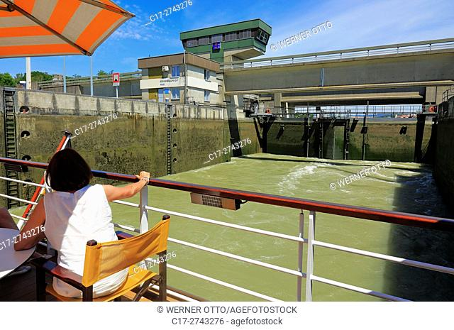 tourism, holiday, freetime, Danube river cruise on an aROSA ship, people, tourists, cruiser in a ship lock of the water power station Melk, Austria