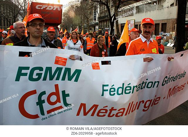 Procession of the General Federation of Mining and Metallurgy CFDT (FGMM CFDT) during the demonstration against pension reform, Paris, Île-de-France, France