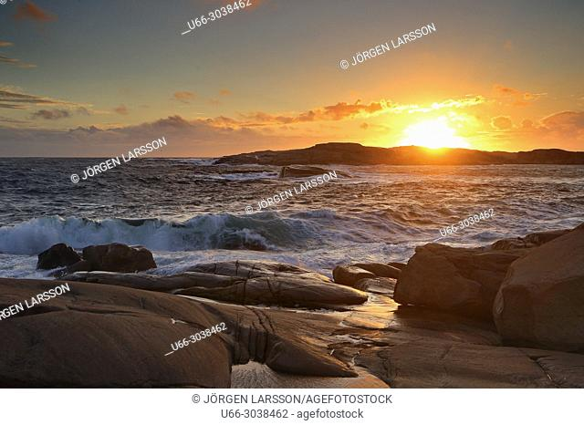Waves and sunset in Smogen, Bohuslan, Sweden