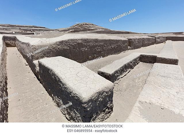Pyramid of Cauachi, archaeological site In the Nazca region, Peru