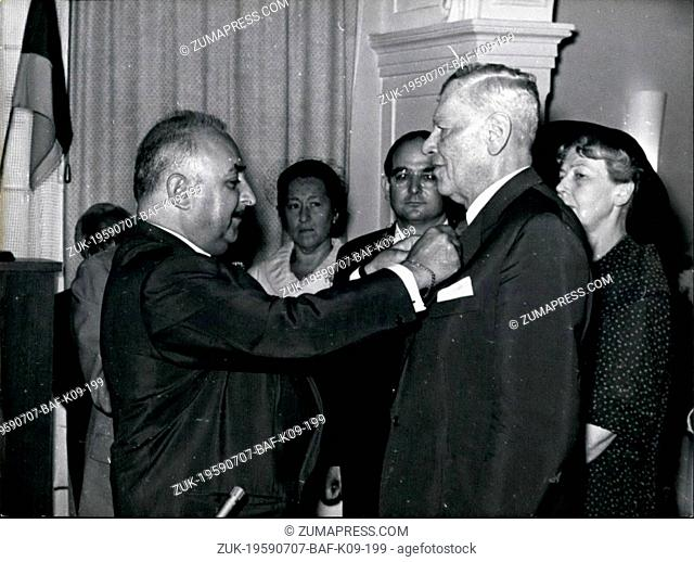Jul. 07, 1959 - Famous German conductor Hans Knappertsbusch today received the Cross of the League of Honor in Bayreuth from the President of the Paris...