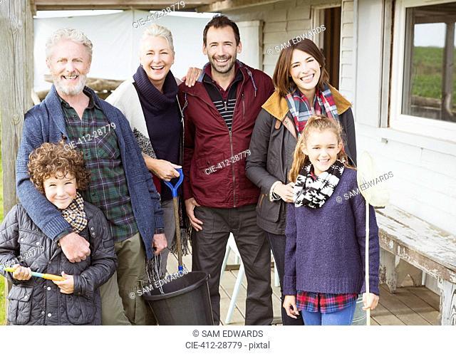Portrait smiling multi-generation family on porch