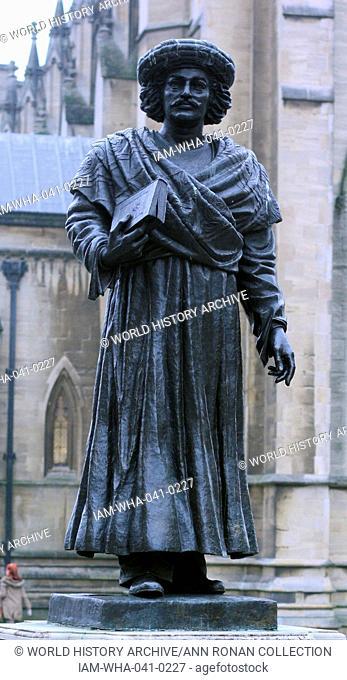 Statue near Bristol Cathedral, England depicting Raja Ram Mohan Roy, Ram Mohun also spelled Rammohun, Ram Mohan (1772 – 1833), Indian religious, social