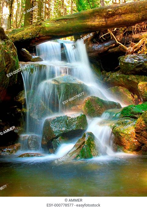 Waterfall in Wild Valley, Krkonose National Park, Giant Mountains National Park, Eastern Bohemia, Czech republic, Europe
