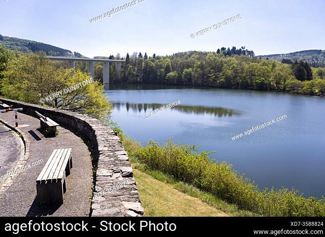 Europe, Luxembourg, Diekirch, Lultzhausen, Ningserbaach and Lac Sure from Viewpoint