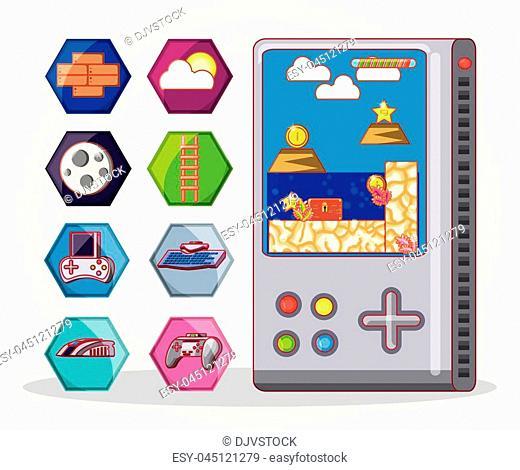 video game scene set icons vector illustration design