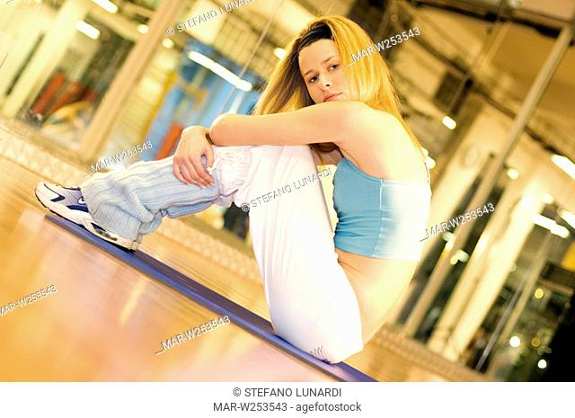 young woman, gym