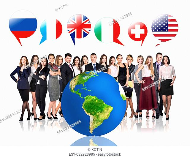 Business people near big earth and flag bubbles.Elements of this image furnished by NASA