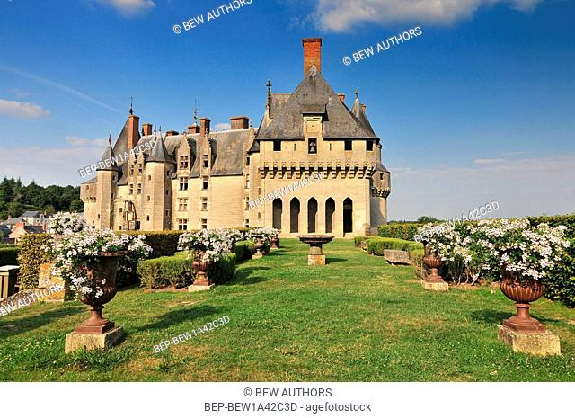 Panoramic view of the castle garden and town Langeais. Loire Valley France