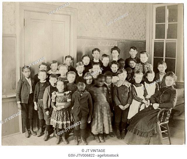 Teacher and Students, Portrait, Science Hill School, USA, circa 1901