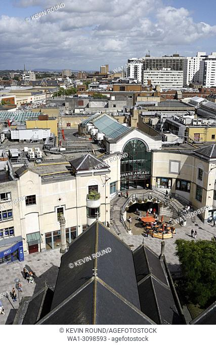 Cardiff City Centre rooftop view, Wales UK
