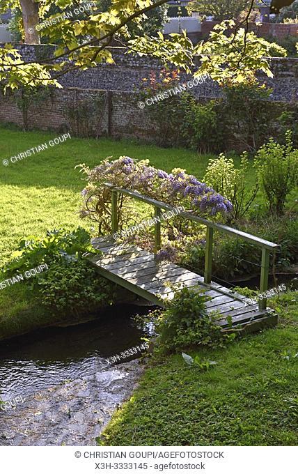 petit pont de bois sur la Veules ( le plus petit fleuve de France, 1149 m), Veules-les-Roses, departement de Seine-Maritime, region Normandie